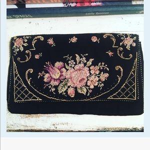 Vintage Silk Black Floral Embroidered Clutch